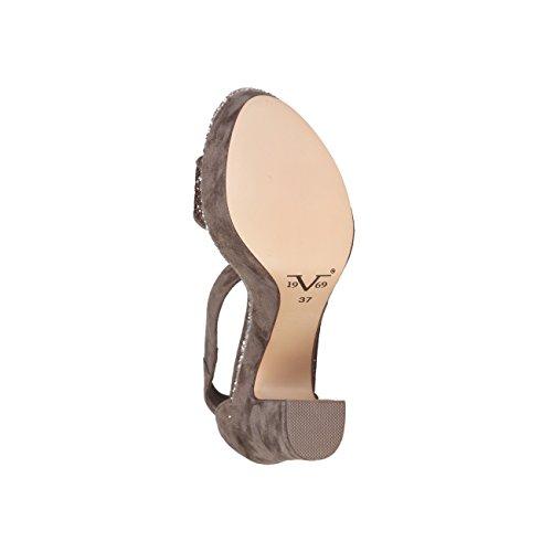 V 1969 - CAMELIE_TAUPE Donna Sandali Della Caviglia Cinghia Tacco 13 cm, Altopiano 5 cm