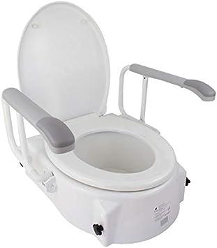 Mobiclinic, Muralla, Elevador WC con brazos, Asiento elevador, Adaptador WC para personas mayores, Regulable en altura de 5 a 15 cm, inclinable, reposabrazos abatibles