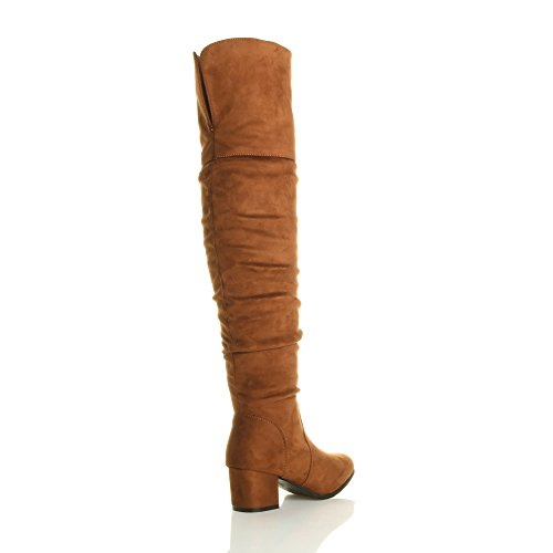de fruncido con Ajvani tamaño alto cremallera para muslo sobre bloque botas mitad la del tacón rodilla gamuza mujer vHwvx4a