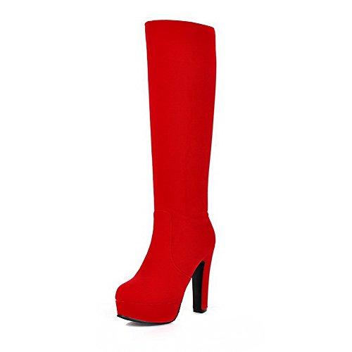 Allhqfashion Women's Closed Round Toe High-top High-Heels Solid Imitated Suede Boots Red eUDsevWbBb