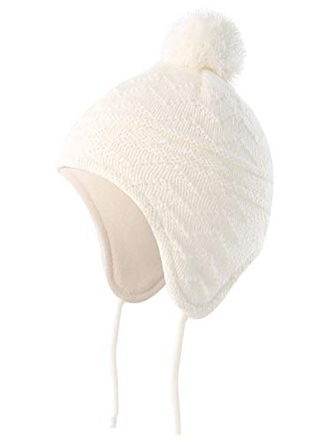 Skull Earflap Beanie - Connectyle Toddler Infant Baby Knit Kids Hat Fleece Lined Beanie Skull Cap with Earflap Warm Winter Beanies Cap,White,S:6M-1.5T(17.3inches-18.5inchesHead Girth)