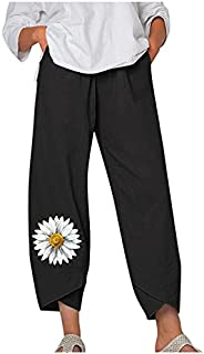 Womens Plus Size Capri Pants Casual Boho Floral Print Loose Wide Leg Comfy Yoga Cropped Trouser with Pockets