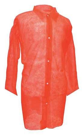 Disp. Lab Coat, 2XL, Poly, Red, PK30