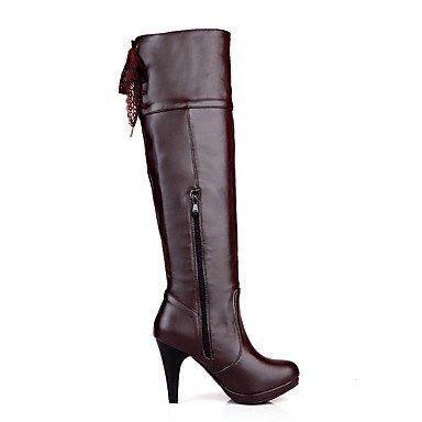 RTRY Zapatos De Mujer Polipiel Moda Invierno Botas Botas Chunky Talón Puntera Redonda Sobre La Rodilla Botas Borla(S) Para Vestimenta Casual Negro Marrón US5.5 / EU36 / UK3.5 / CN35