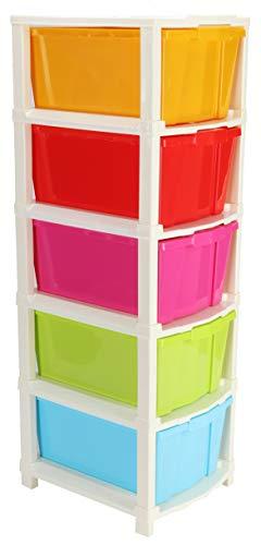 Joyful Studio 5 Drawer Plastic Modular Drawer System for Home, Office, Hospital, Parlor, School, Doctors, Home and Kids(Multicolor,5XL,31cmx39cmx98 cm)