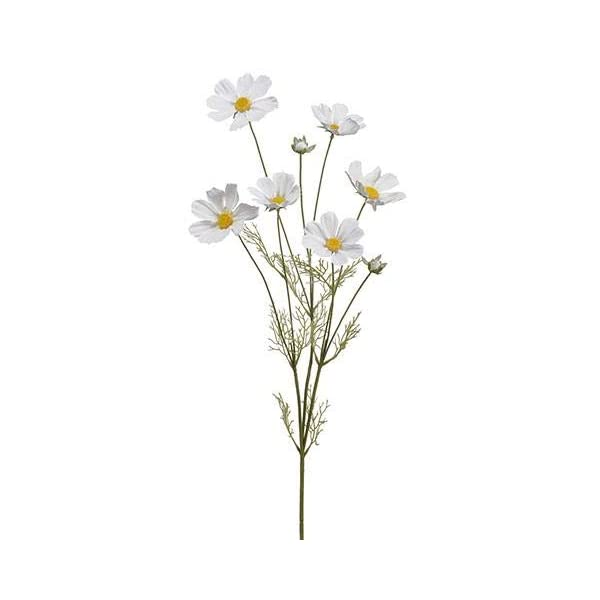 Artificial Cosmos Flowers in White – 36″ Tall – Set of 3
