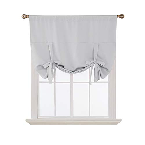Deconovo Blackout Curtain Tie Up Shade Window Panels for Living Room and Bedroom Greyish White 46W x 63 1 Panel (Cheap Curtains Tie Up)
