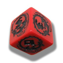 1 (One) Single d6 - Q-Workshop: Carved DRAGON d6 Dice / Die (Red & Black)