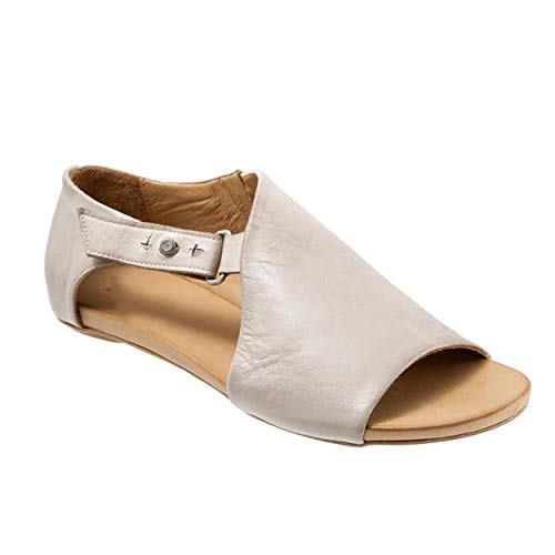 (SNIDEL Flat Sandals for Women Open Toe Slip on Pu Shoes Summer Low Heels Strappy Sandal with Buckle Beige 8 B (M) US)