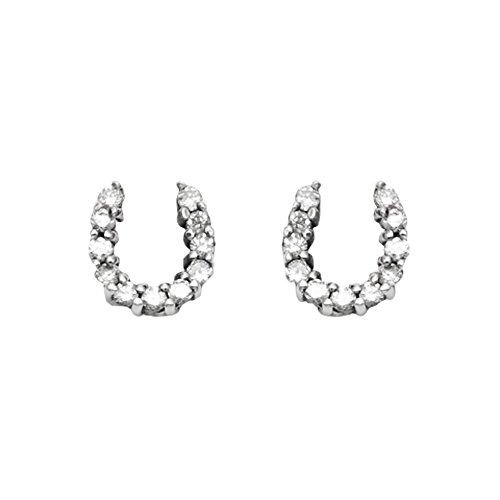 eshoe Stud Earrings w/Faceted Crystal Stones (Silver Horseshoe Lady Ring)