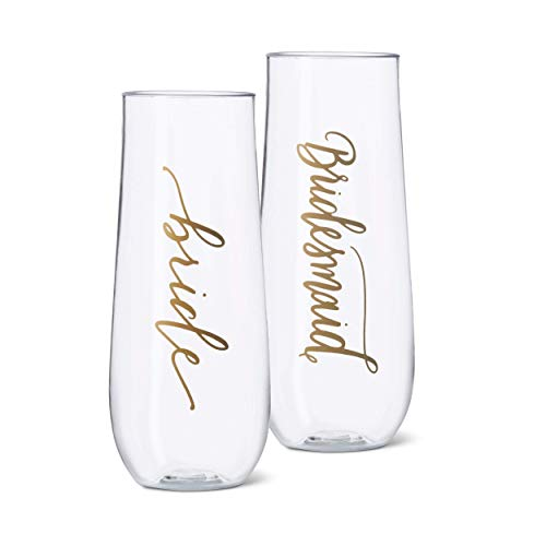 11 Piece Set of Bridesmaid and Bride Durable Plastic Stemless Champagne Glasses for Bachelorette Parties, Weddings and Bridal Showers]()
