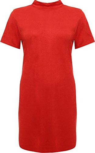 WEARALL - Damen Plus Kurz Hülle Rollkragen Wildleder Bodycon Top Damen T-Shirt Mini Kleid - 42-56 Rot FtAGH