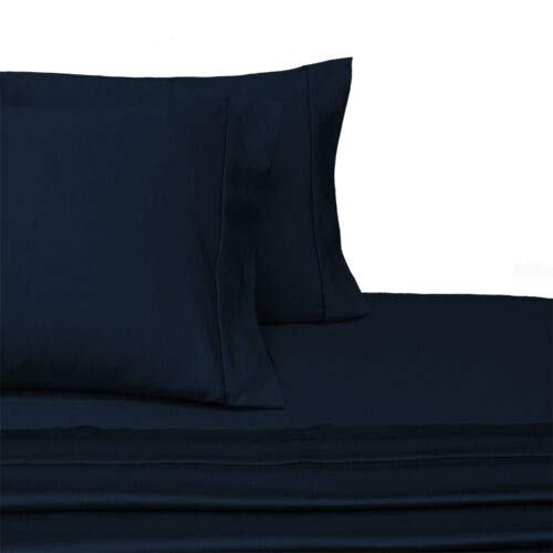 - Exquisitely Lavish Sateen Solid Weave Bedding by Pure Linens, 300 Thread Count 100-Percent Plush Cotton, 4 Piece Queen Size Deep Pocket Hemmed Sheet Set, Navy
