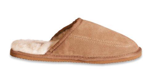 Nordvek - # 445-100 - Zapatillas de casa hombre - Talón abierto - Mezcla ante auténtico y lana ovina - Artesanal Castaño