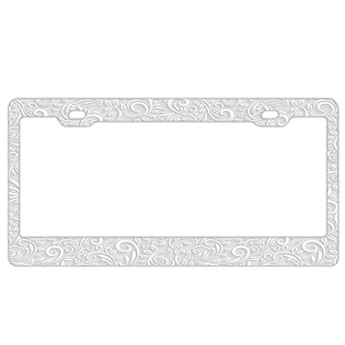 (License Plate Frame - Classic Floral Swirling and Curving Victorian Style Pattern - Car License Plate Holder Tag for)