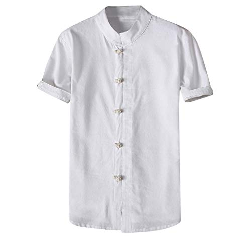 OrchidAmor Fashion Mens Autumn Winter Button Casual Linen and Cotton Short Sleeve Blouse White ()
