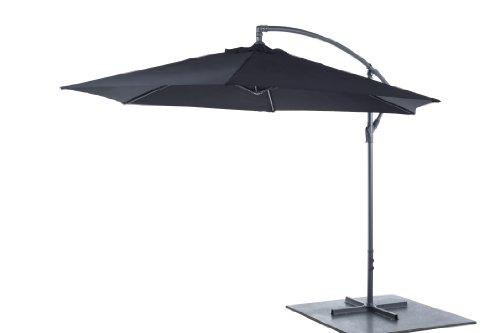 Sonnenschirm Ampelschirm Kurbelschirm Ø3m H2,5m Gartenschirm Aluminium Sonnenschutz - Schwarz