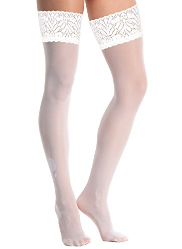 Artiff Women's Thigh High Stockings Sheer Silicone Lace Top Small - Opaque Top Lace