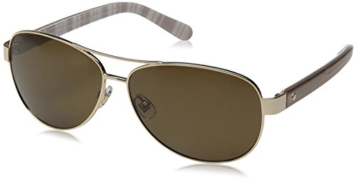 Kate Spade Women's Dalia2/P/S Polarized Aviator Sunglasses, Light Gold/Brown, 58 - Spade Kate Glasses Gold