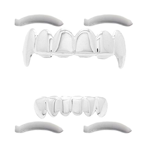 Ice Grillz - 24K Plated White Gold Grillz With Fangs for Mouth Top Bottom Hip Hop Teeth Grills For Teeth Mouth + 2 Extra Molding Bars, Storage Case + Microfiber Cloth …
