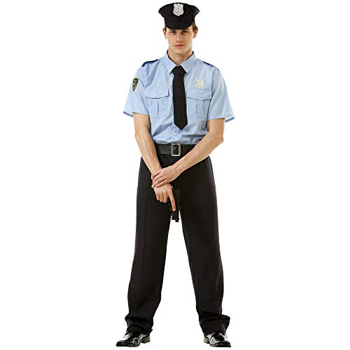 Good Cop Mens Halloween Costume | 911 Police Officer Classic Uniform, L -