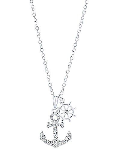 Nautical Sailors Anchor Rhinestone Silver Color Necklace (Rhinestone Anchor Necklace)