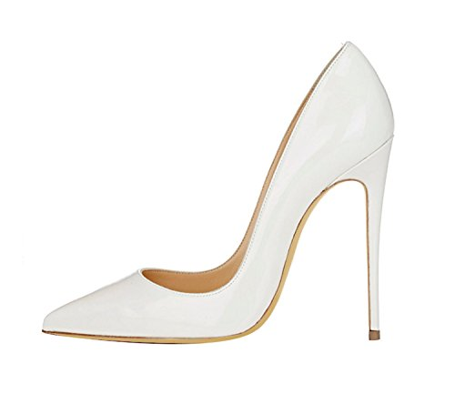 Multa sólido Gran tamaño Color Superficial de White Alto DYF Fuerte tacón Boca Mujer Zapatos de de qwzg4I1