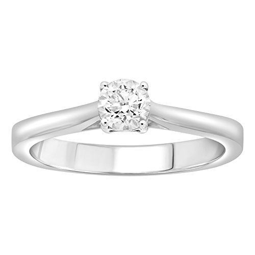 eSparkle 18K White Gold 0.32 Ct IGI Certified Natural Diamond Engagement Solitaire Ring