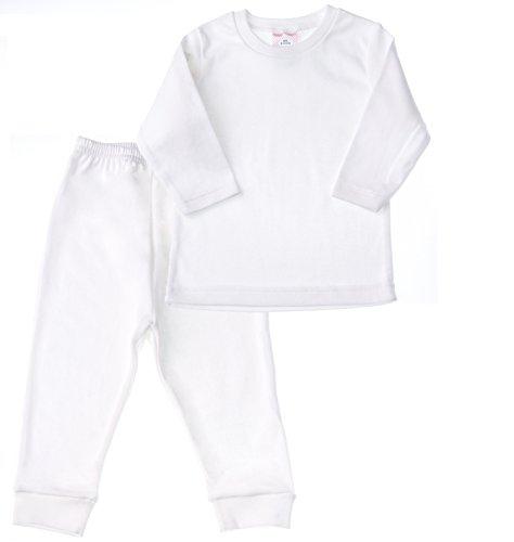 Babies and Toddlers Pajama Set - White 100% Cotton Boys / Girls (Baby Girls Favorite Cotton)