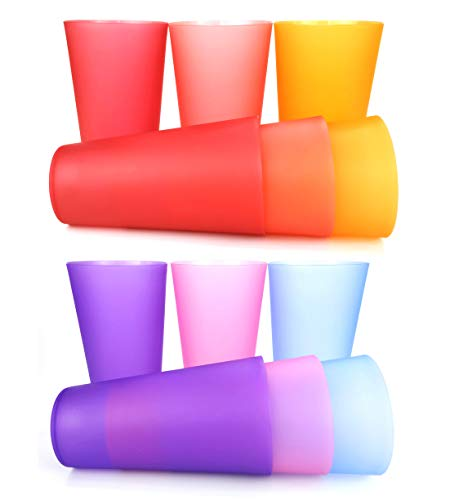32-ounce Plastic Tumblers/Large Drinking Glasses/Party Cups/Iced Tea Glasses Set of 12,6 Assorted Colors| Unbreakable, Dishwasher Safe, BPA Free ()