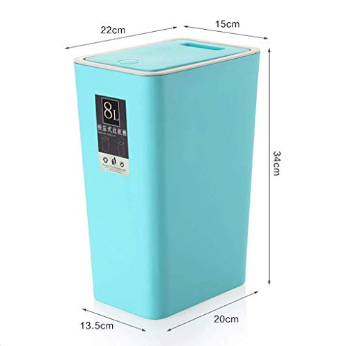 ZXW Trash can- Trash Can Household Rectangle, Beige, Brown, Pink, Green, Blue (Color : Blue, Size : 13.5x20x34cm) ()