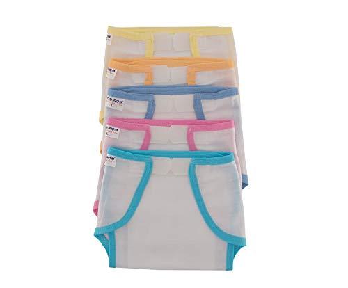 Pom Pom Sweethearts Velcro U Shape Cotton Nappy  Multicolor, 6 9 Months, Set of 5