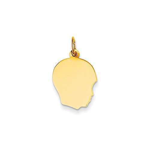10k Yellow Gold Plain Medium .013 Gauge Facing Right Engravable Boy Head Charm (13 x 22 mm) (Gauge Engraveable Boy Charm)