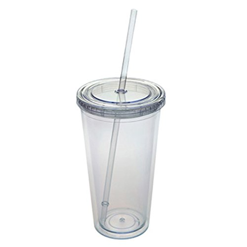 Tumbler Cup with Straw Lids Plastic Acrylic Double Wall Insulated BPA Free Travel Outdoor Cup (Clear, 27oz Tumbler) (Plastic Travel Tumbler)