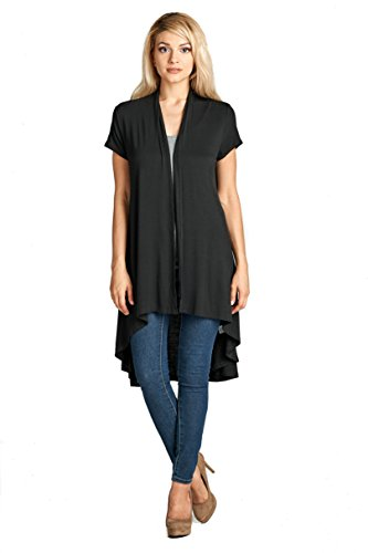 ReneeC. Women's Extra Soft Natural Bamboo Short Sleeve Cardigan - Made in USA (X-Large, Black) (Sleeve Short Long Cardigan)