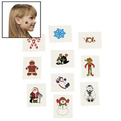 Holiday Tattoos - 72 CHRISTMAS Glitter Tattoos/SANTA ELF/SNOWMAN/Candy Canes/HOLIDAY PARTY FAVORS/Stocking STUFFERS/6 DOZEN