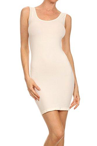 ICONOFLASH Women's Seamless Tank Dress, (Plus Size, Ivory) ()