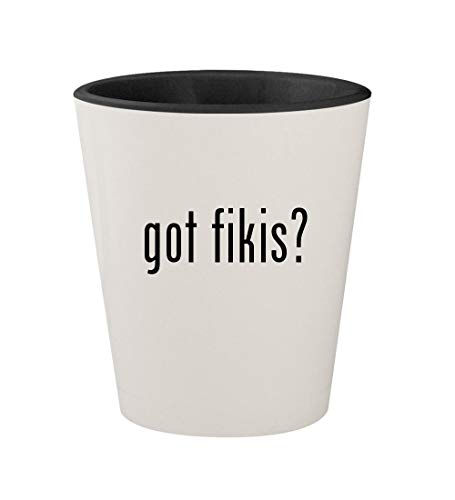 got fikis? - Ceramic White Outer & Black Inner 1.5oz Shot Glass