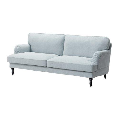 Ikea Sofa, Remvallen blue/white, black/wood 10204.82926.1010