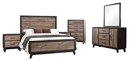 Amazon.com: Calista 6 Piece Bedroom Set, King, Rustic ...