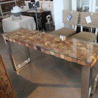 Konsolentisch Atlantic, Holzplatte mit Glas abgedeckt und polierten Stahlfüßen (B40xL160xH75 cm.)