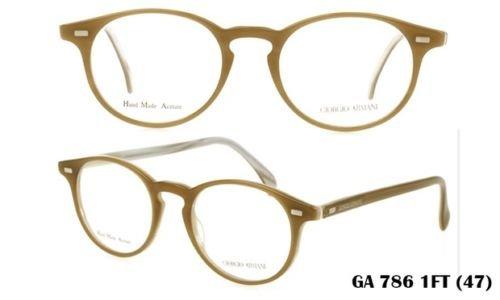 Giorgio Armani GA786 1ft Honey Horn Round Thin Eyeglasses Frame Lightweight Made in - Armani Eyeglasses Giorgio Round
