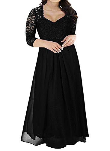Nemidor Women's Deep- V Neck 3/4 Sleeve Vintage Plus Size Bridesmaid Formal Maxi Dress (22W, Black+Sleeve)