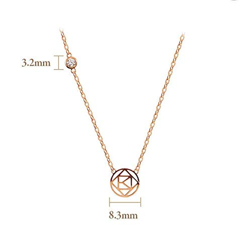 Stone Round Kind Rose Pendant Necklace for Women 16.5 Chain 10K