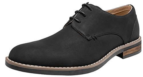 VOSTEY Men's Oxford Retro Plain Toe Dress Shoes for Men (10.5,Black)