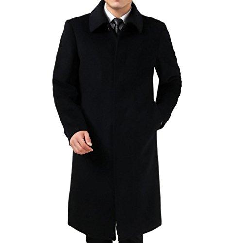 Kmotanu Men's Winter Warm Fleece-Lined Long Cashmere Coat (Large, Black Blue)