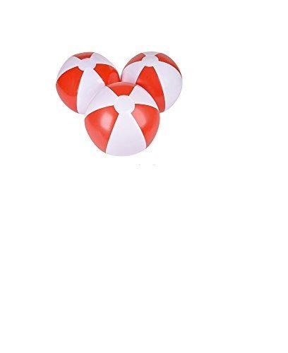 16'' Beach Balls ~ One Dozen Red & White Beach Ball inflates ~ PATRIOTIC BEACHBALLS ~ Pool Decor beach Favor Water Play Fun outdoor Birthday Fourth July Luau Wedding Celebration (Red Beach Ball)