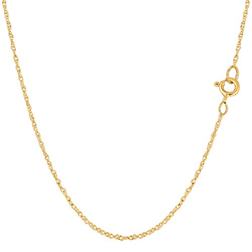 14k Yellow Gold Rope Chain Necklace, 0.9mm, 18