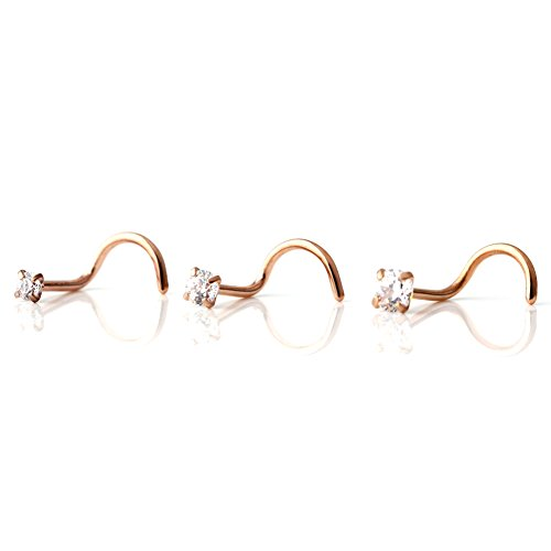 SCERRING 3PCS 316L Surgical Steel Rose Gold Plated 2mm 2. 5mm 3mm Clear Cubic Zirconia Diamond Nose Screw Stud Ring 20 Gauge