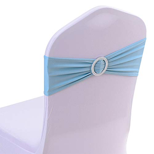 50PCS Spandex Chair Sashes Bows Elastic Chair Bands with Buckle Slider Sashes Bows for Wedding Decorations (Light Blue)